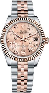 Rolex Rolex DateJust 31 Steel & Everose Gold Fluted Bezel Watch Pink Floral Dial 178271