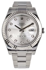 Rolex Rolex Datejust II Steel & White Gold Silver Diamond Dial 116334