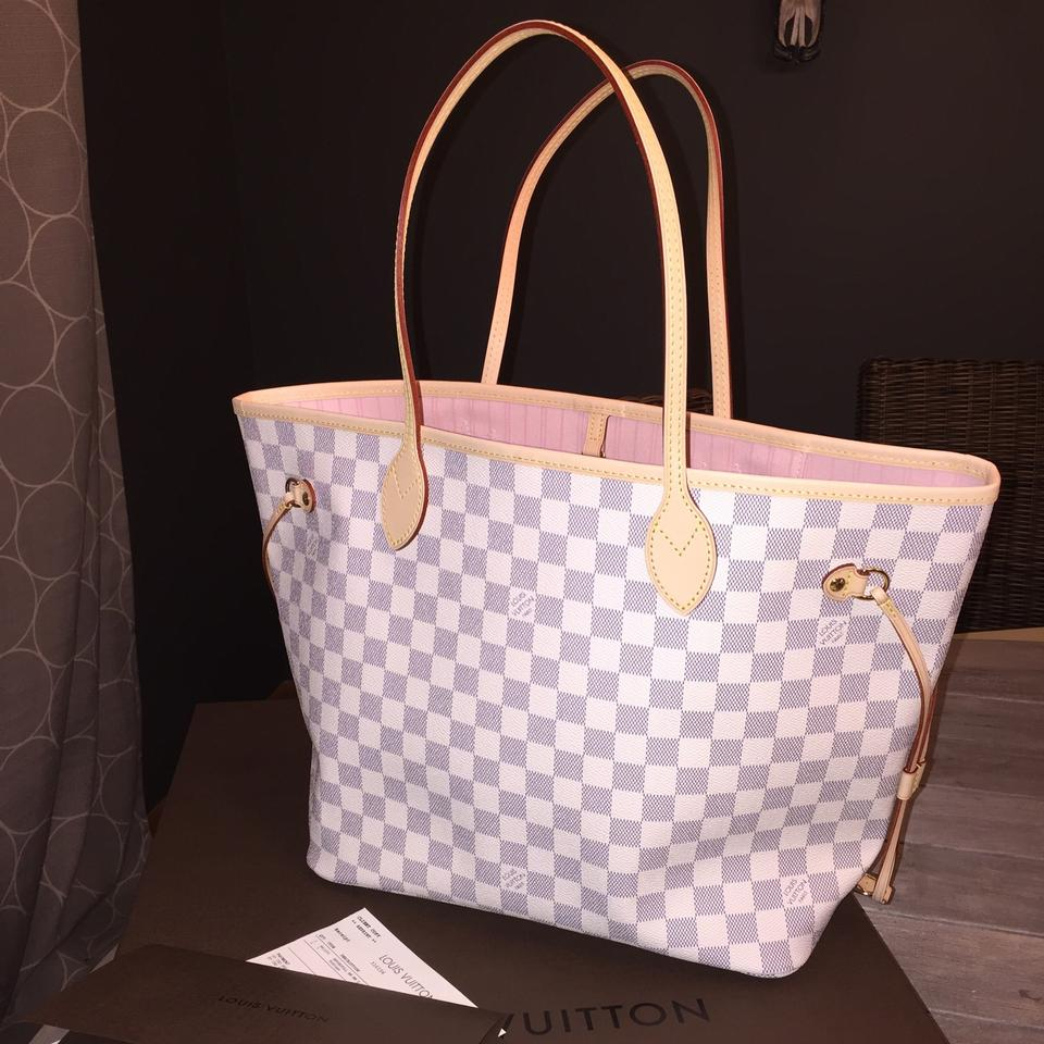 21b127860a7c Louis Vuitton Neverfull So Rare Damier Azur Pink Rose Ballerine Mm Summer  2016 Release Pre-order Hard To Find Handbag Shoulder Blue Off White White  and ...