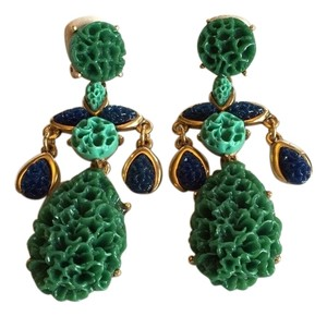 Oscar de la Renta OSCAR DE LA RENTA NWT TURQUOISE TEXTURED CLIP ON EARRINGS