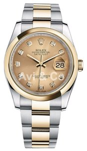 Rolex Rolex Datejust 36 Steel & Yellow Gold Oyster Bracelet Watch Champagne Diamond Dial 116203