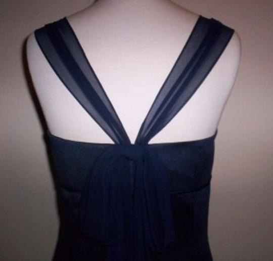 Alfred Angelo Navy Satin 7177 Formal Bridesmaid/Mob Dress Size 8 (M)