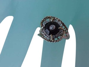 Other ANTIQUE 10K White and Yellow Gold FiIligree RING: Carved Genuine Onyx & Diamond,early 1900's