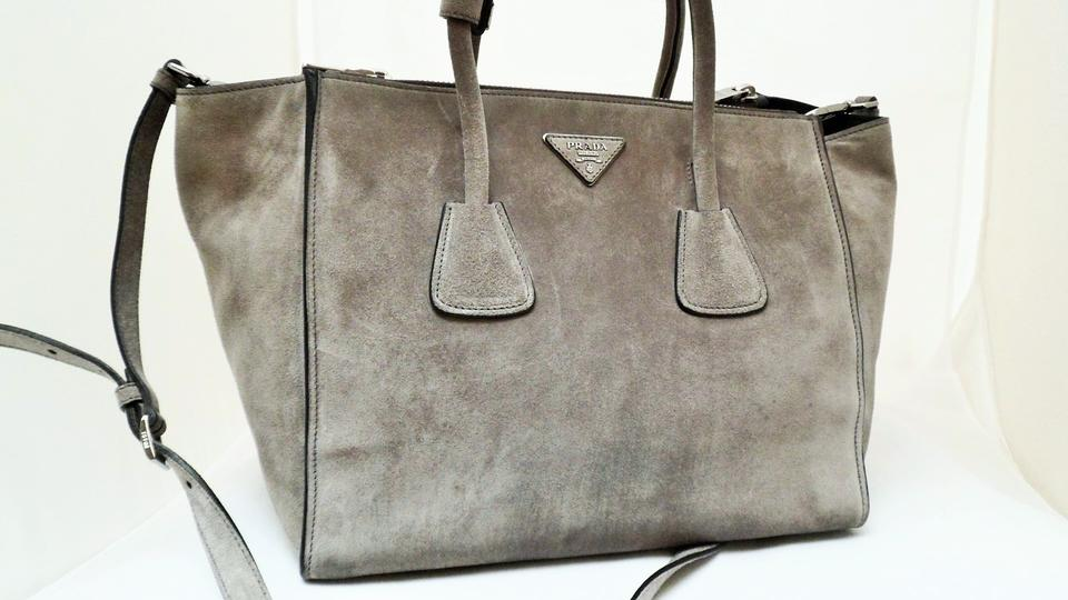 a1dce334d6e9 Prada Twin Pocket Scamosciato Shoulder Bn2619 Grey Suede Leather ...