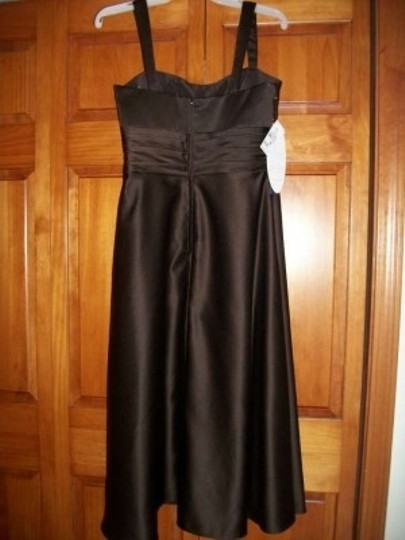 Alfred Angelo Espresso Satin 7178 Formal Bridesmaid/Mob Dress Size 10 (M)