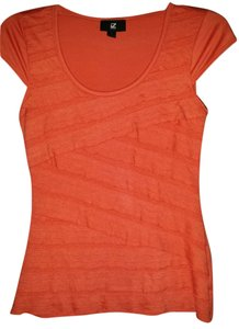 IZ Byer California Work Or Night Out Cap Sleeves Never Worn Red/Orange Criss Cross Cotton T Shirt Red/Orange