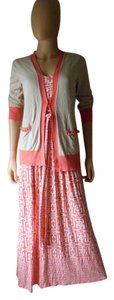 Coral and Tan Maxi Dress by New York & Company Cardigan Maxi