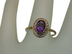 Other Antique Victorian 14K Yellow Gold Amethyst Filigree Ring, early 1900s