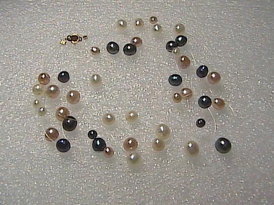 Unknown 14k Tin Cup 3-Strand Multi-Color FreshWater Pearl Necklace (item#1)
