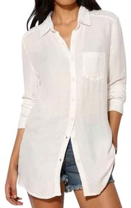 Urban Outfitters Button Down Drapey Flowy Button Down Shirt White