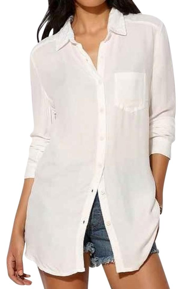 6bc963e4 Urban Outfitters Drapey Flowy Layers Layering Button Down Shirt White Image  0 ...
