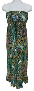 Multi-color Maxi Dress by Mlle Gabrielle Floral Maxi Strapless Full Length Long