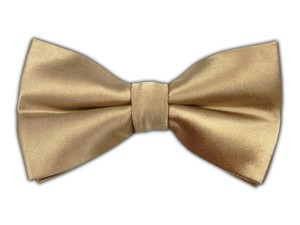 Solid Satin - Light Champagne Bow Tie #b609