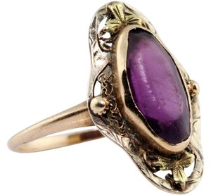 Other Antique 1880's Victorian 10k Rose Gold Filigree 1.93 Ct Purple Amethyst Ring