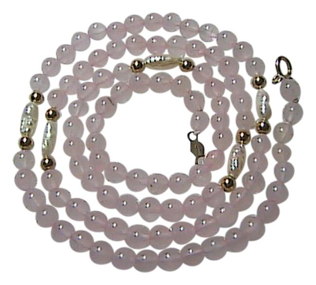 14k Yellow Gold Beads Pink Quartz & Pearl Freshwater (Item # 2 ) Necklace 14k Yellow Gold Beads Pink Quartz & Pearl Freshwater (Item # 2 ) Necklace Image 1