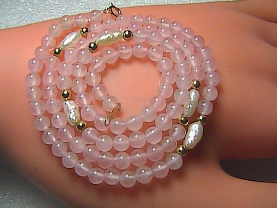Unknown 14k Yellow Gold Pink Quartz & Freshwater Pearl Necklace (item # 2 )