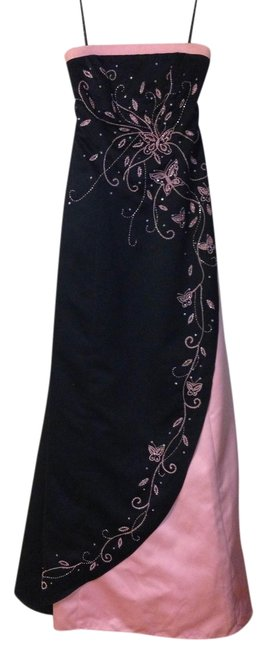 Item - Black and Peach Sequin Strapless Long Formal Dress Size 2 (XS)