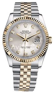Rolex Rolex Datejust 36 Steel & Yellow Gold Oyster Bracelet Watch Silver Diamond Dial 116233