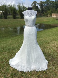 Allure Bridals Ivory Lace 9119 Sexy Wedding Dress Size 8 (M)