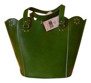 Kate Spade Leather Cutouts Metal Feet Silk Lining Tote in GREEN