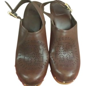 Tory Burch Clog Heel Mule Brown Mules