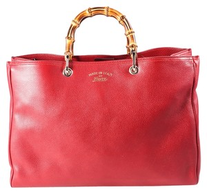 Gucci Bamboo Shopper Leather Tote Satchel in Red