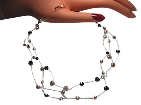 Unknown 14k Tin Cup 3-Strand Multi-Color FreshWater Pearl Necklace (Item# 2)