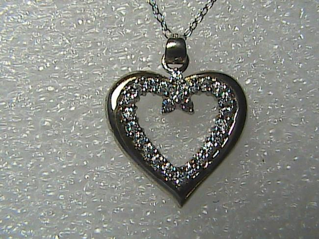 Sterling Silver & Cz Heart Necklace Sterling Silver & Cz Heart Necklace Image 1
