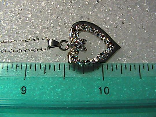 Unknown Sterling Silver CZ Heart Necklace