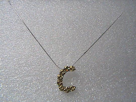"""Unknown Italy Sterling Silver 2.0 cts Citrine Initial """" C """" Necklace"""