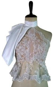 Lisa Nieves Peplum Beaded Bridal Prom Formal Top white