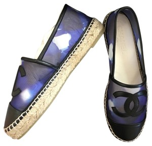 Chanel And Mesh Espadrilles Blue Black Flats