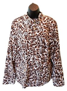 Chico's Snap Collar Brown and white Animal print Jacket