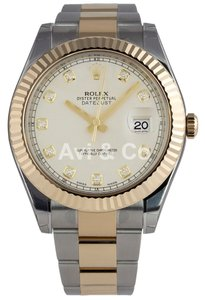 Rolex Rolex Datejust II Steel & Yellow Gold Watch Ivory Diamond Dial 116333