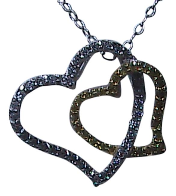 Silver & Gold Color Double Heart Sterling Necklace Silver & Gold Color Double Heart Sterling Necklace Image 1