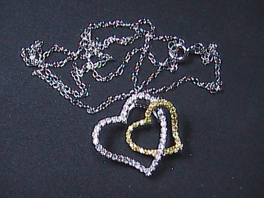 Unknown Sterling Silver Double Heart Necklace