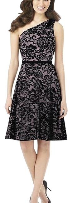 Dessy Suede Rose / Black 8141 Mid-length Night Out Dress Size 6 (S) Dessy Suede Rose / Black 8141 Mid-length Night Out Dress Size 6 (S) Image 1