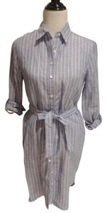 Ann Taylor short dress Chambray Blue with Pink Stripe on Tradesy