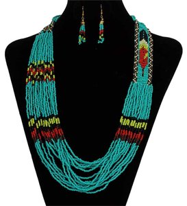 2pc Native Turquoise Beaded Necklace Earring Set Free Shipping