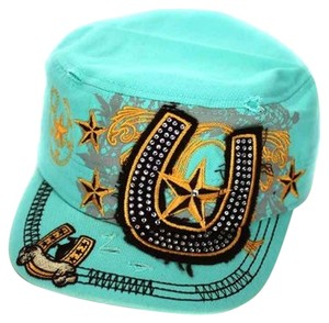 Leader Distressed Style Tuquoise Western Cadet Cap Free Shipping
