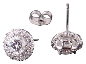 Other New White Sapphire & 18k White Gold Filled Stud Earrings