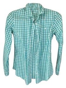 C. Wonder Button Down Shirt Turquoise, white