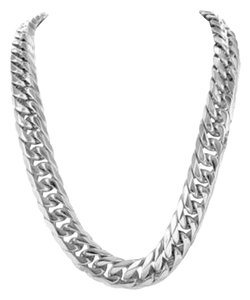 Mens Miami Cuban Chain White Gold Over Stainless Steel Necklace 31
