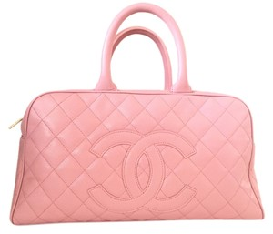 Chanel Bowling Caviar Leather Satchel in pink