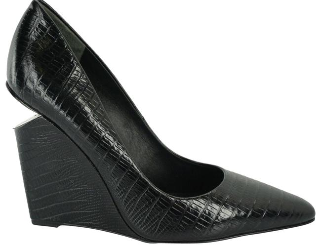 Item - Black Lizzard Leather Ine Cut Out Heel Pointy Toe Pumps Wedges Size EU 36 (Approx. US 6) Regular (M, B)