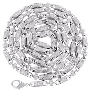 Bullet Design Chain Mens White Rhodium Simulated Diamond Lobster Lock
