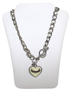 Juicy Couture Heart Silver Tone Charm Necklace