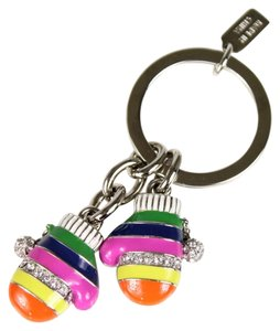 Coach COACH LEGACY STRIPE MULTICOLOR MITTENS KEYCHAIN