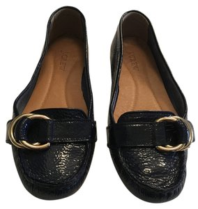 J.Crew Patent Leather Mocs Deep Indigo Flats