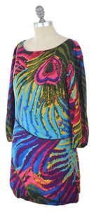 Trina Turk Vibrant Stretch Silk Mini Shift Dress